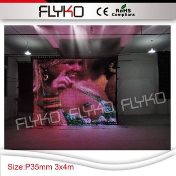 3 m x 4 m led video bez P35mm esnek kadife metin, resim, flaş ekran video backdrop