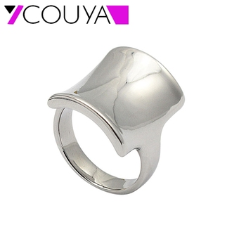 COUYA New Square Design Metal Silver Ring Wedding Rings Luxury Brand jewelry Fashion Gifts US SIZE 6 7 8 9 Wholesale R10078