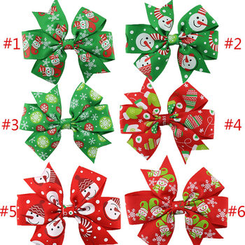 Cute Christmas Bowknot Hairpin Hair Clips Baby Girls Ribbon Bow Barrettes Ornaments Hair Accessories 88 KQS8