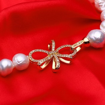 HENGSHENG 2017 New Real Freshwater Braque Pearl Necklace For Women,Big Irregular Pearl,14.5-15 mm,Bow-Knot Gold Tail Buckle -