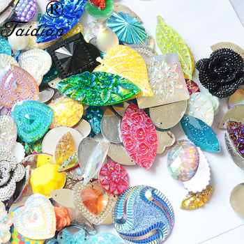 Mixed Shape Sew On Rhinestone Beautiful Resin Stones Mix Color Jewelry Garment Accessories 15-25mm 1000Pcs/lot