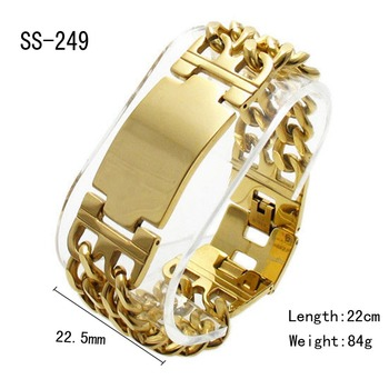 New Jewelry Bangle 22cm*22.5mm 84g 316L Stainless Steel Gold color Bend Tag Chain Bracelet Cuff For Strong Cow Boy & Men -